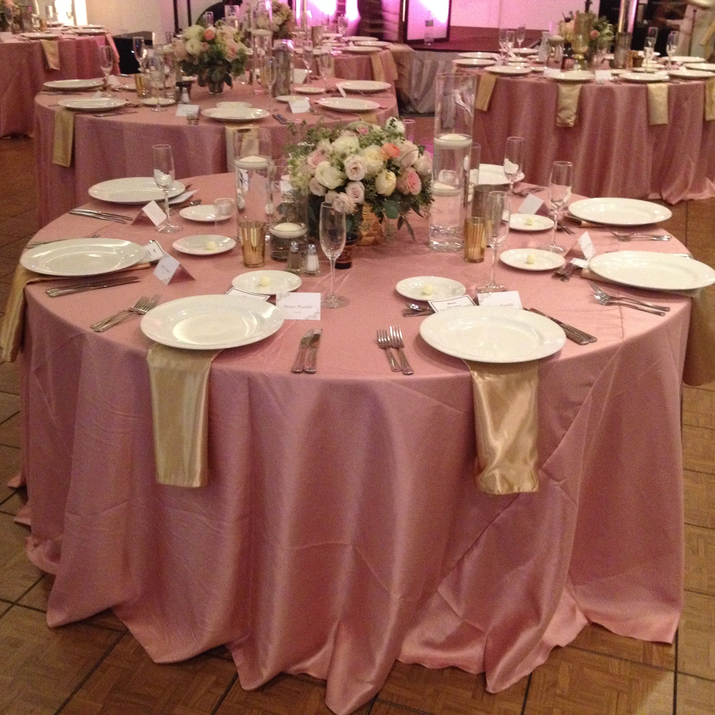 Dusty Rose Shantung Silk Linen With Gold Lamour Napkins