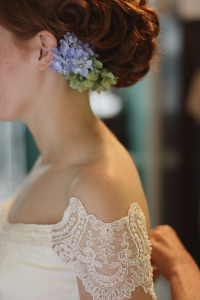 vintage dress remade + fresh hydrangeas