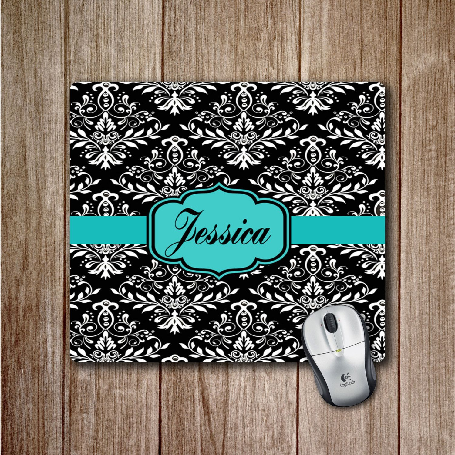 damask office accessories. monogram mousepad black and white damask pattern with teal accents personalized office accessories cute mousepads l