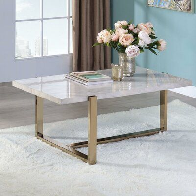 Everly Quinn Edwin Frame Coffee Table In 2021 Coffee Table Marble Top Coffee Table Coffee Table With Storage