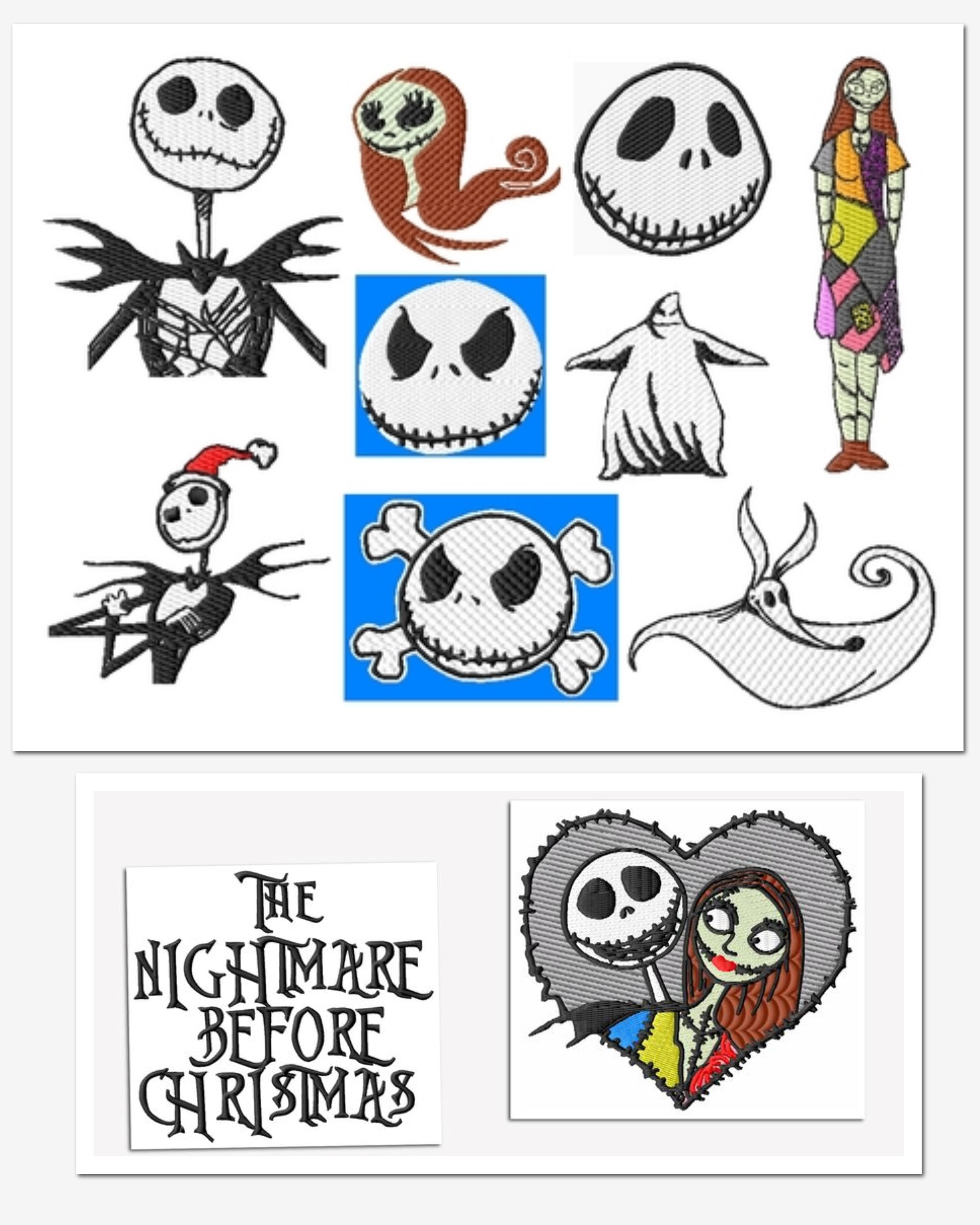 Nightmare Before Christmas Embroidery Designs Set 1 (2szs!) | Baby ...
