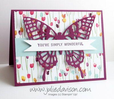 Butterflies Thinlits + Painted Blooms Simply Wonderful Card
