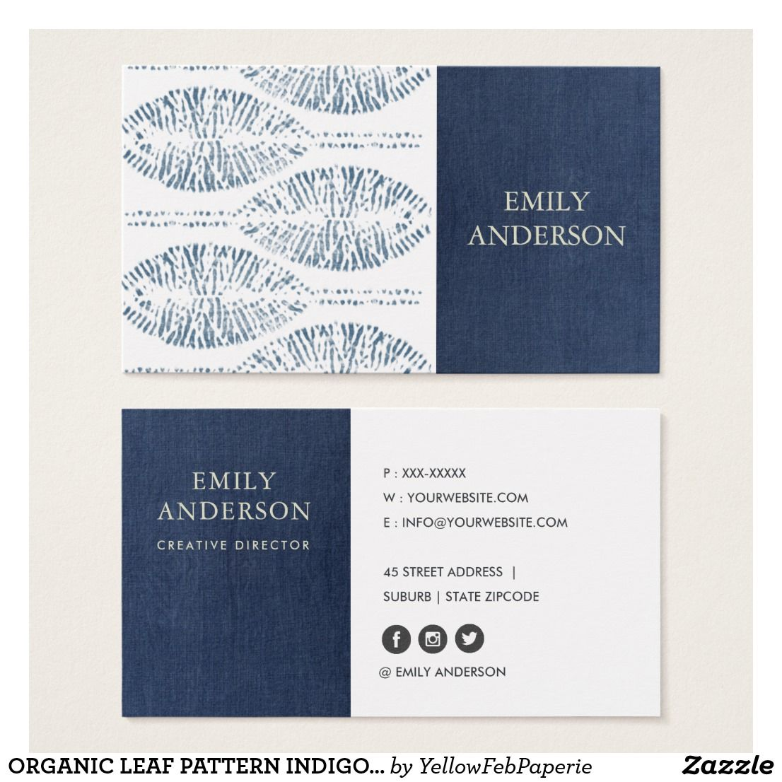 Organic leaf pattern indigo blue tie dye batik business card | Blue ...
