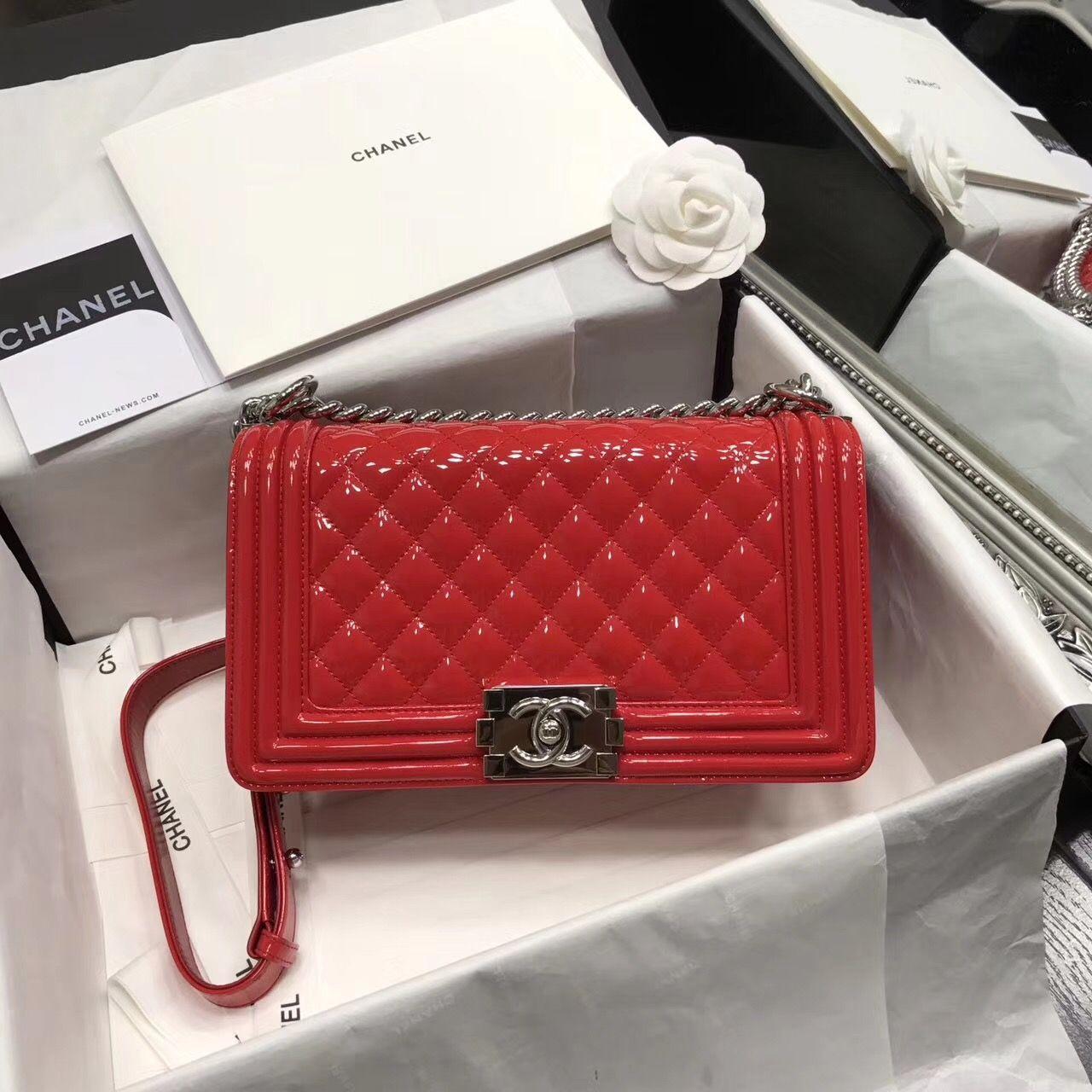 3e9438191d55 Chanel Original Patent Leather Medium Le Boy Flap Bag in Red 25cm ...