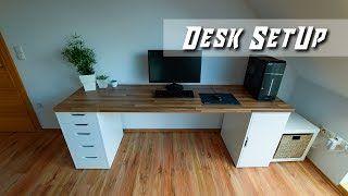 My new home office pc workstation desk ikea karlby worktop alex