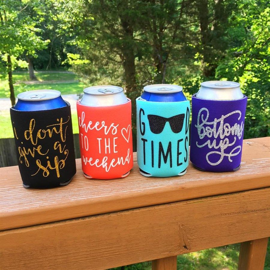Glittered Koozies Summer Sayings Cricut Projects Vinyl Koozie Design Koozies Diy