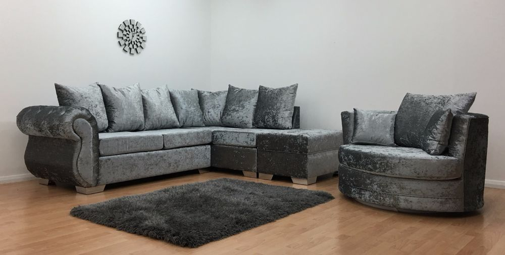 Windsor Corner In Silver Crushed Velvet With Standard Footstool Cuddle Chair Ebay Cuddle Chair Footstool Chair