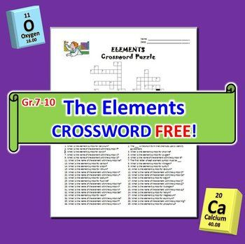 THE ELEMENTS CROSSWORD This 36 question editable Elements Crossword - new periodic table no. crossword
