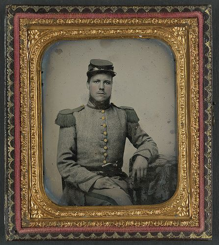 [Private Joseph T. Rowland of Co. A, 41st Virginia Infantry Regiment in uniform with epaulets and kepi with pistol in belt] (LOC); sixth-plate ambrotype, hand-colored ; 9.3 x 8.1 cm (case).