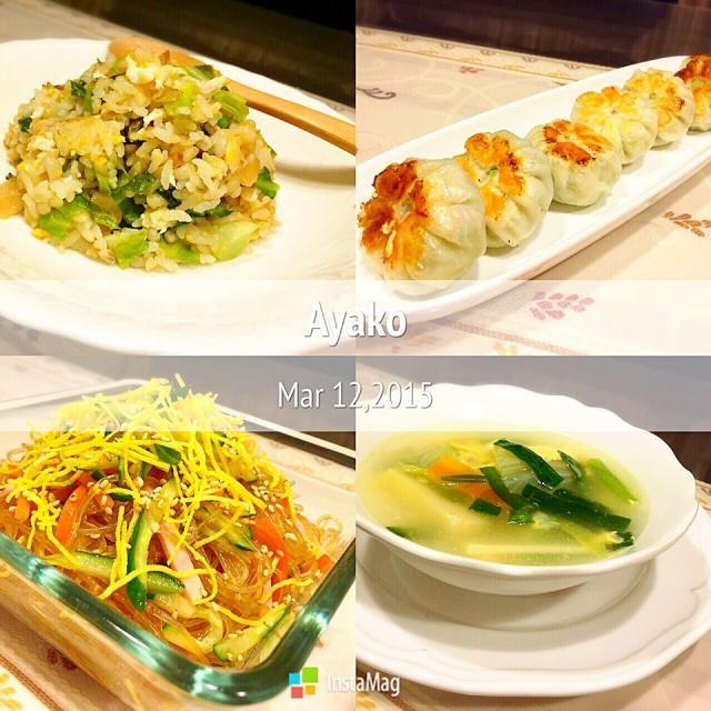キャベツたっぷり搾菜キャベツ炒飯 海老ニラまん 春雨サラダ 白菜の中華スープ 白菜 サラダ 搾菜 春雨サラダ