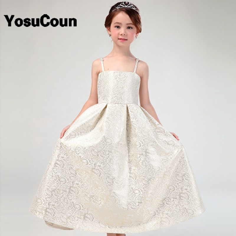 4-16Years Princess Girl Dresses For Wedding Party Evening Bridesmaid Kids  Bow Sleeveless Trailing Tulle 5dd8cffaf