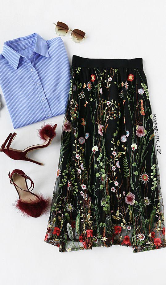9af1a1133 Black Floral Embroidered Mesh Overlay Midi Skirt | MakeMeChic.COM ...