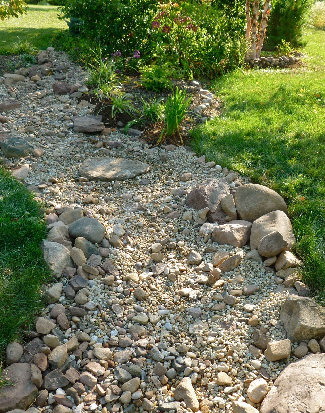 Dry rock bed. Keep edges random. Use contrasting sized