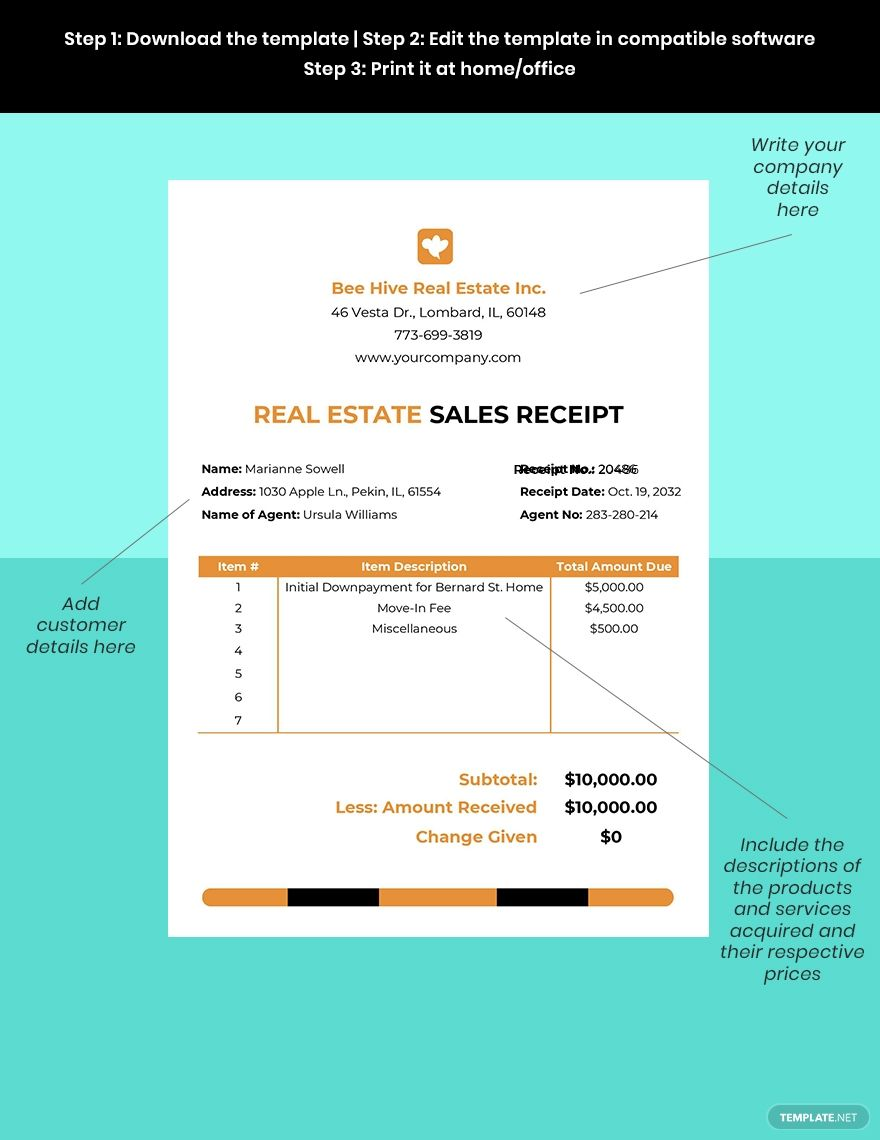 Real Estate Sales Receipt Template Word Doc Excel Apple Mac Pages Google Docs Google Sheets Apple Mac Numbers Receipt Template Document Templates Word Doc