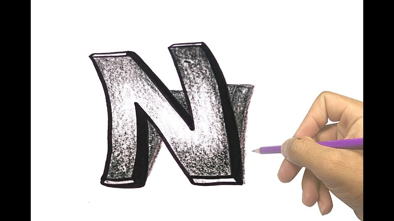 How To Draw 3d Curved Letter N Amazing Art Drawing Video Amazing Art 3d Drawings Drawing Tutorial Easy
