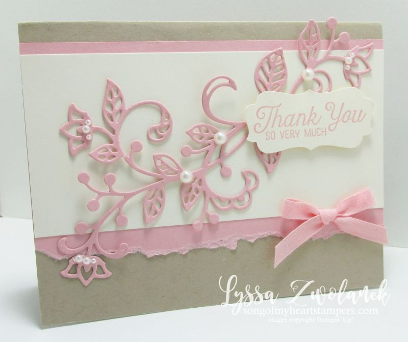 In love with these lacy, pink and vanilla notecards! Pink vanilla flourishing flourish thinlets thank you card stampin up