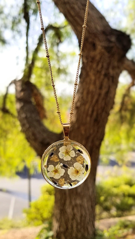 Lavender necklace pressed flower jewelry flower