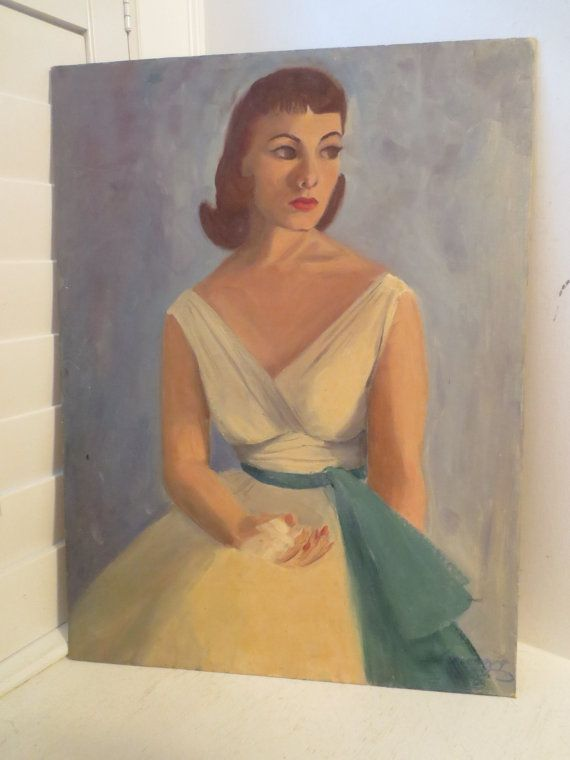 Vintage 1950's Portrait WOMAN in Yellow Dress by AntiqueARTGarden, $99.00