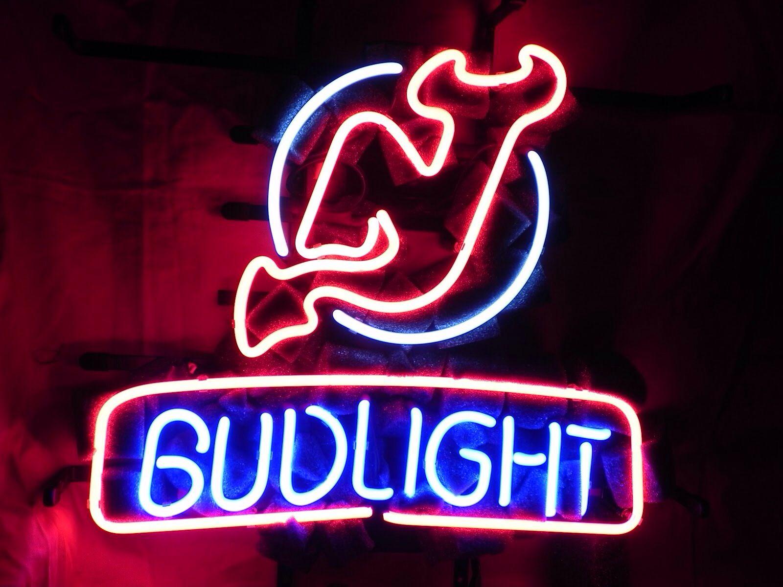 Bud Light New Jersey Devils Neon Sign New Jersey Devils Bud Light Neon Signs