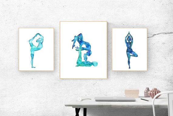 Yoga art original watercolors. Zen art with different yoga asana and acro yoga poses. galaxy art and ocean effect