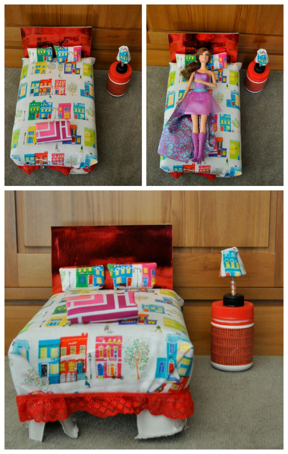 Make a barbie bed out of a cereal box kid blogger for Diy cereal box