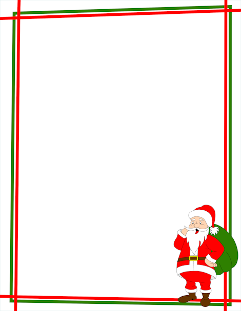 a christmas page border with santa claus in the bottom right corner rh pinterest co uk border christmas clip art free christmas border clipart free microsoft