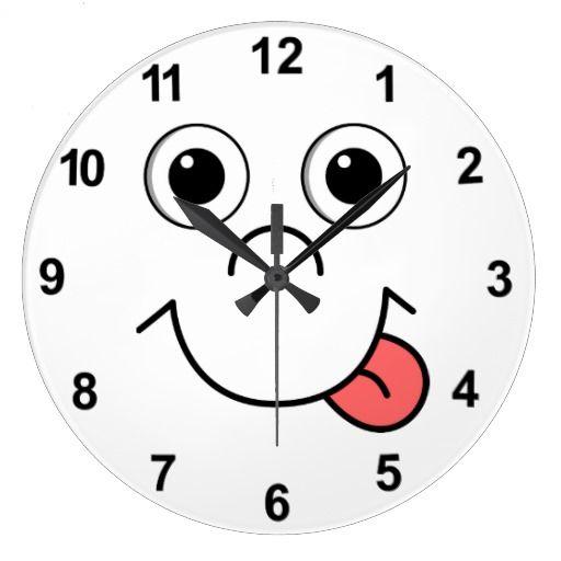 Cartoon Face Large Clock Zazzle Com Clock Wall Clock Cartoon Faces