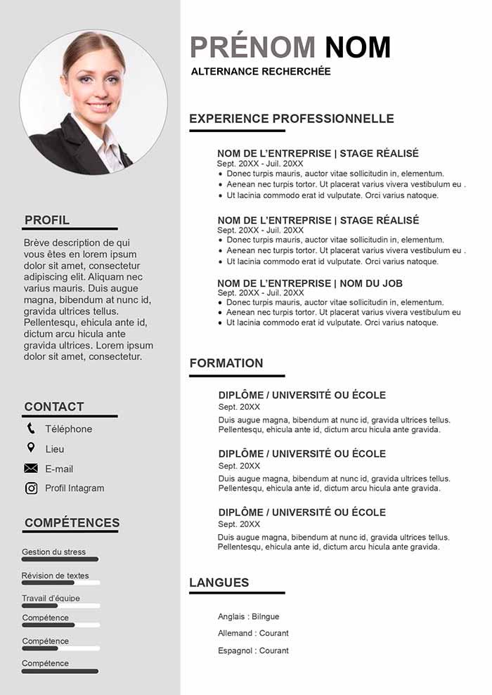 Exemple de CV pour Alternance CV Gratuit à Télécharger
