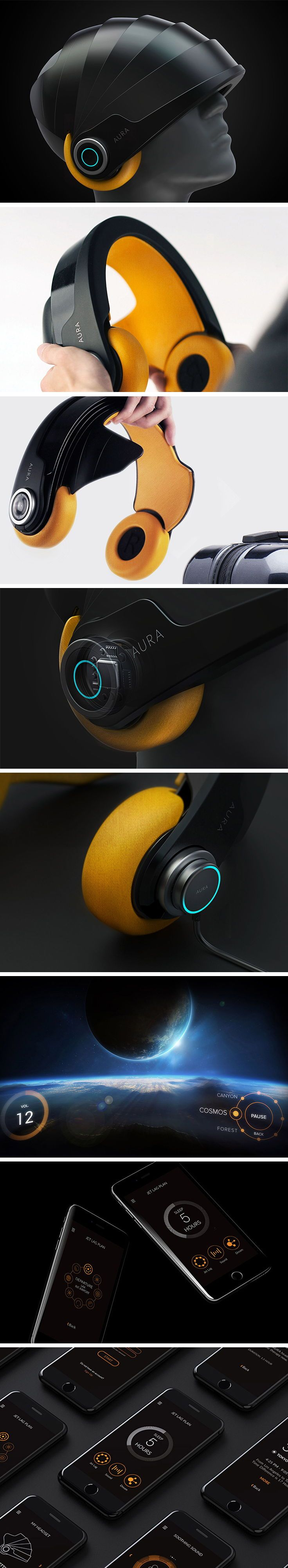 Designed primarily for business travelers and frequent flyers, Aura provides a personal place of serenity and relaxation using an immersive combination of virtual reality and light/sound therapy. During a flight, users can place headphones over the head and extend the retractable visor down for complete isolation.