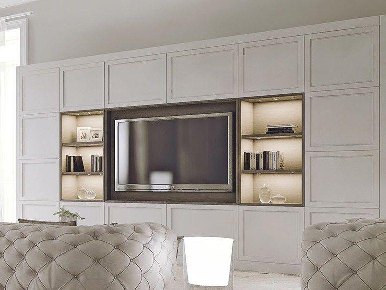 Mueble modular de pared de madera con soporte para tv AETERNA New - muebles de pared