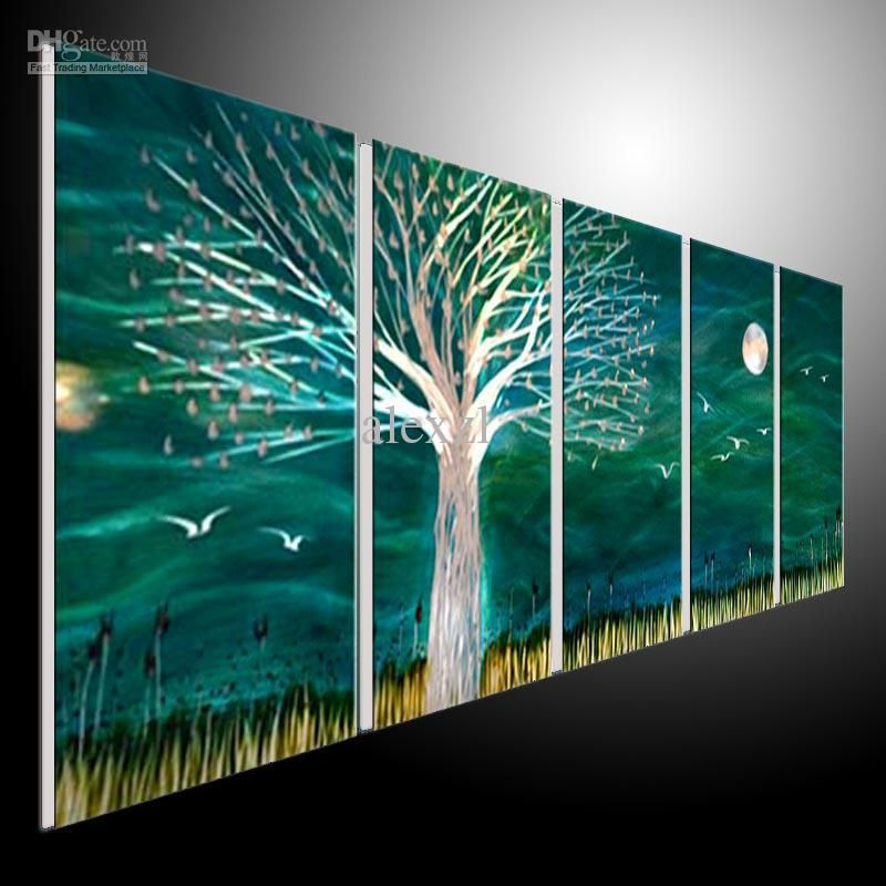 Superior Metal Wall Art Abstract Modern Sculpture Painting Handmade 5 Panels Melted  Gold