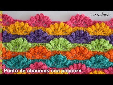 Bello punto de abanicos calados con borde popcorn tejido a crochet ...