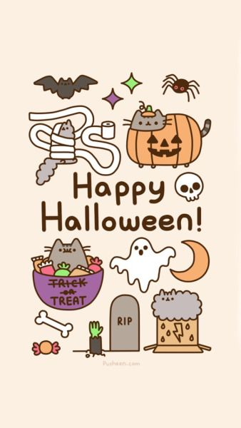 pusheen the cat animated gif happy halloween