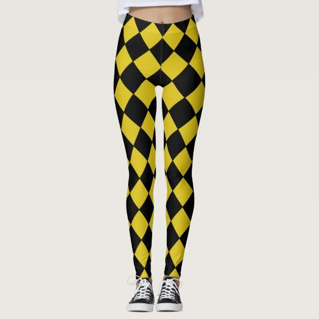 Black and Yellow Harlequin Diamond Checked Pattern Leggings  Get in the Mardi Gras spirit