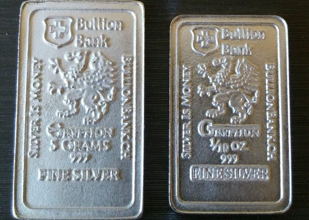 5 Gram 1 10 Oz 999 Fine Pure Solid Silver Bar By Bullion Bank Silver Bar Bu