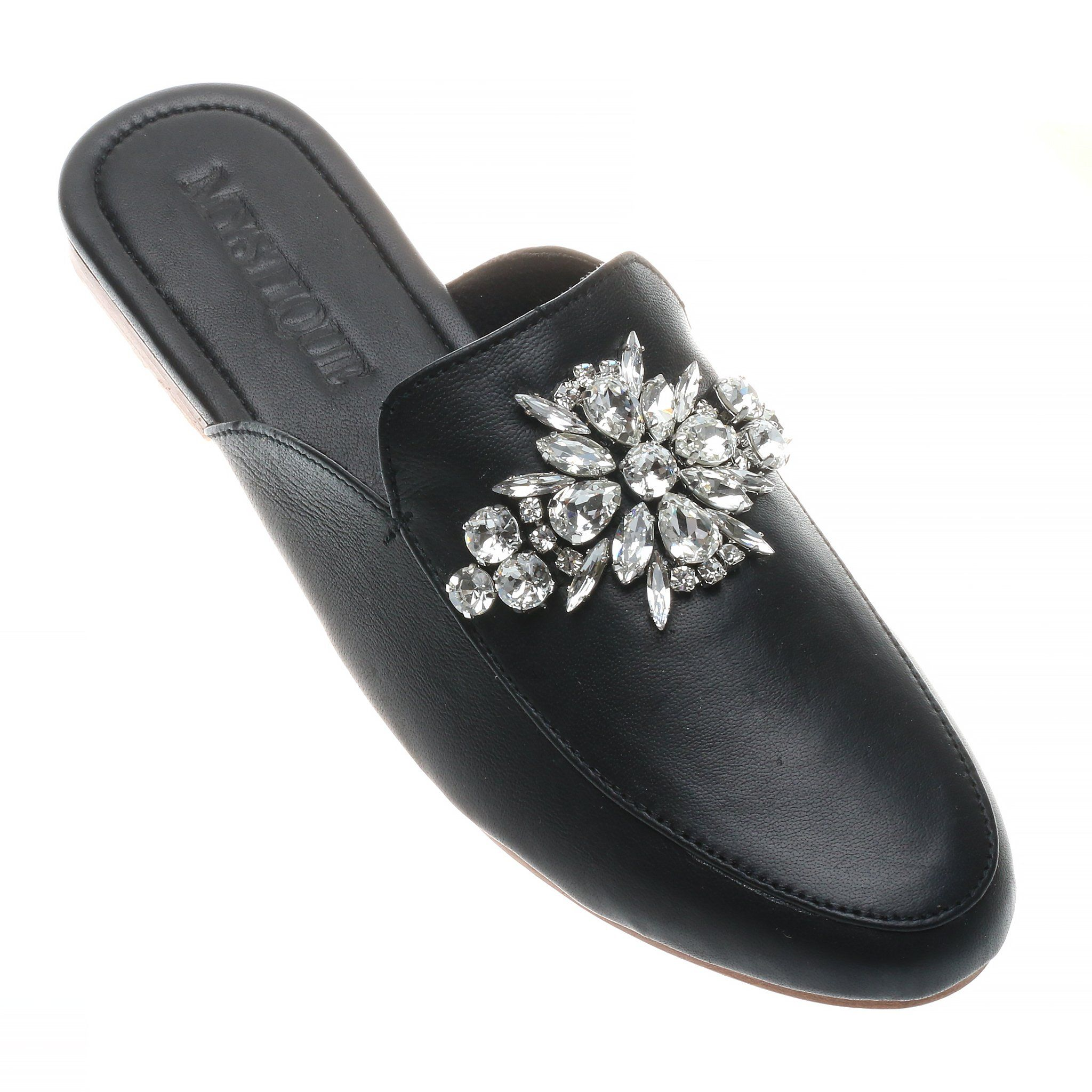 b3849f4ffa5d71 Detroit - Women s Black Leather Jeweled Mules