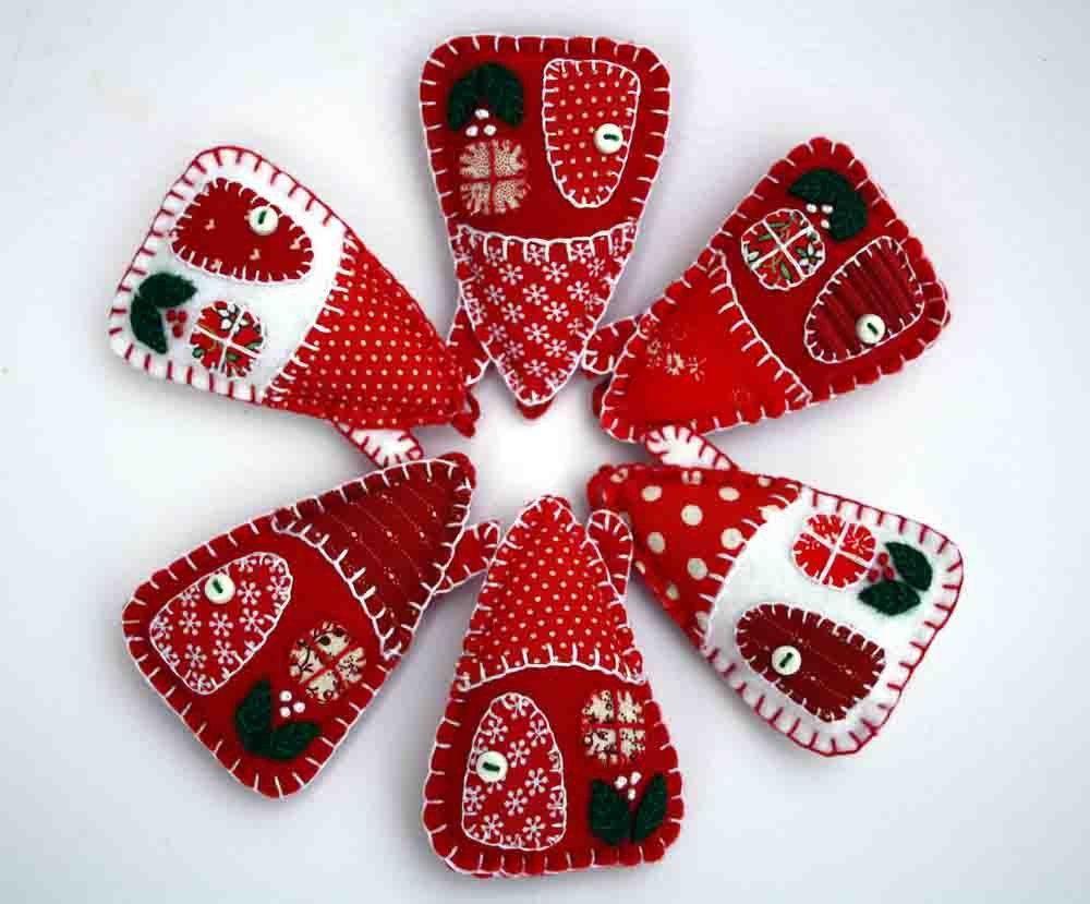 Felt christmas ornaments red and white houses felt christmas