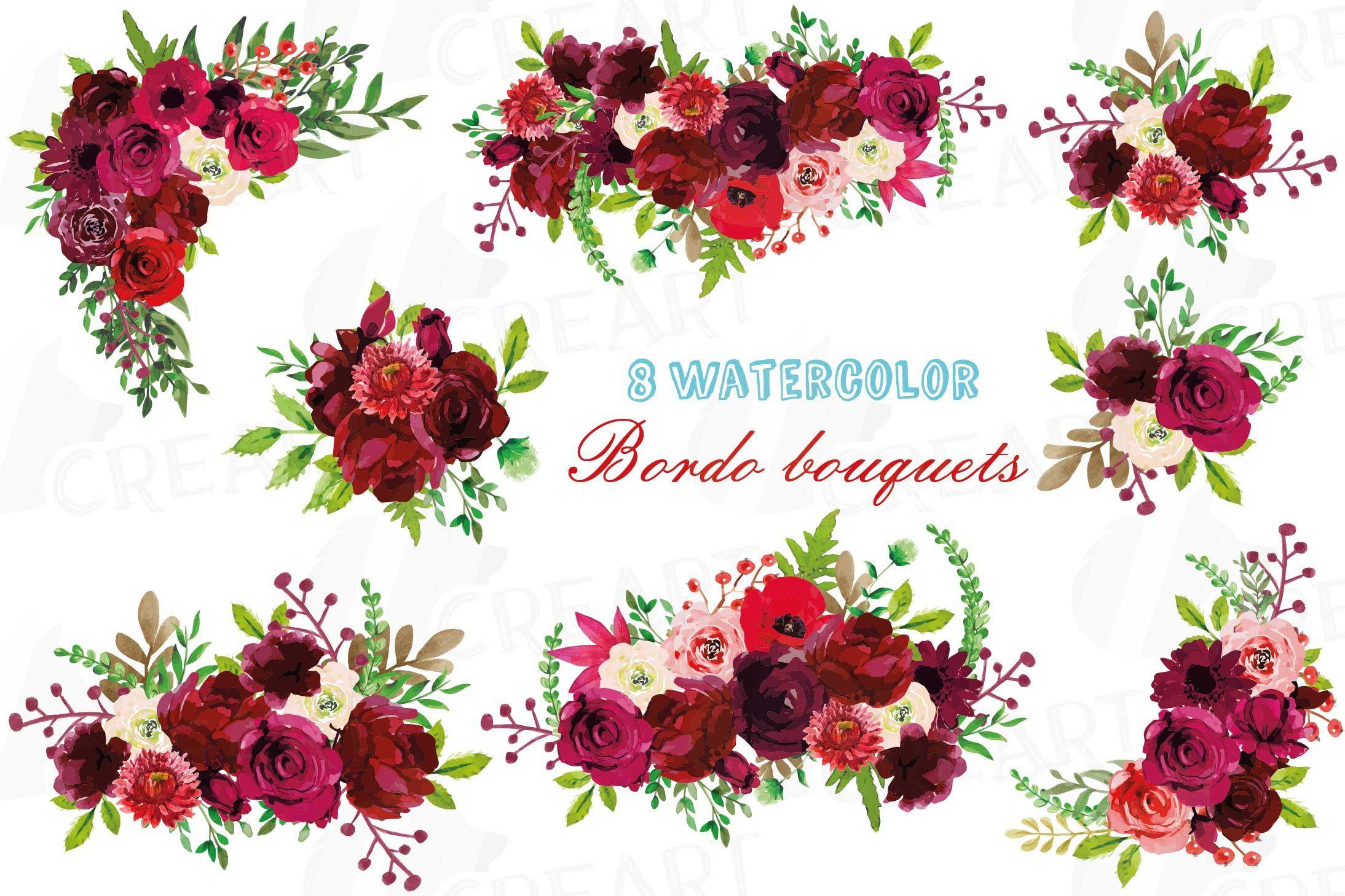 Boho Burgundy Red Watercolor Clip Art Floral Bouquets Bordo Etsy In 2021 Watercolor Clipart Floral Art Clip Art