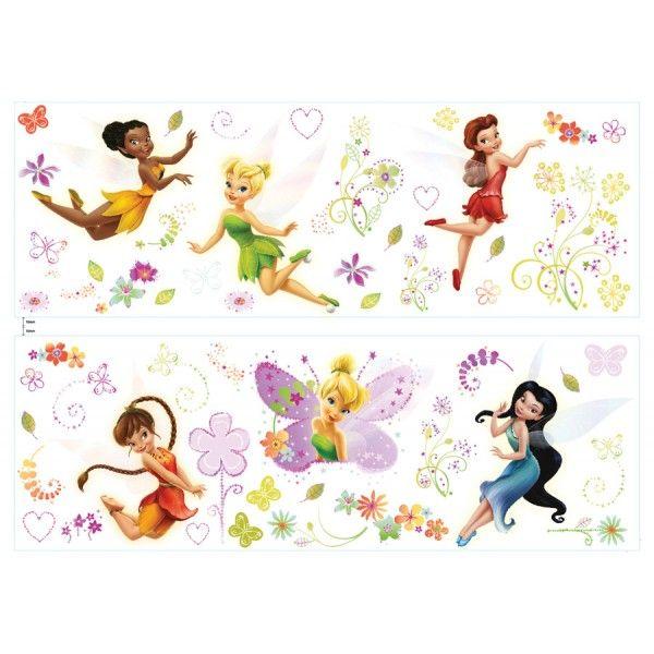 Stickers disney fairies avec la f e clochette et toutes - Clochette et ses amies ...