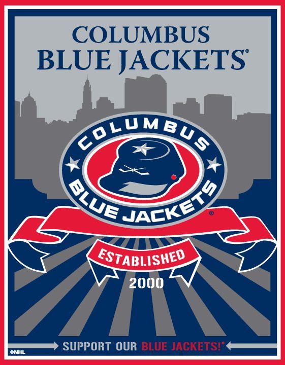 NHL Columbus Blue Jackets 4-by-8 Die Cut Decal