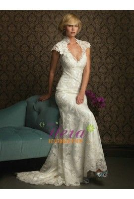 Mermaid / Trumpet Cap Sleeve Lace Wedding Dress
