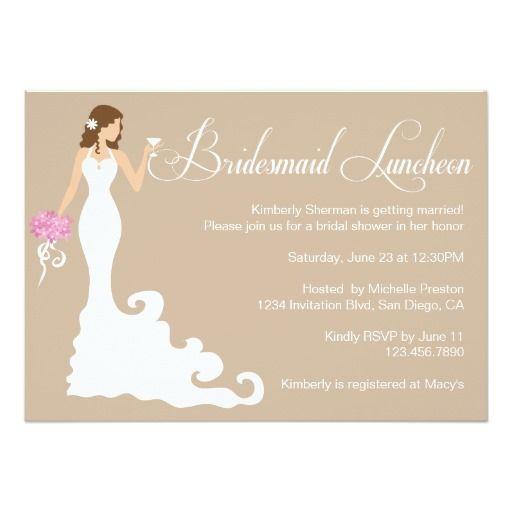 BRIDESMAID LUNCHEON Lunch Chic Pretty Modern Bride Posh Bridesmaid Luncheon Invite Announcement Invitation Card