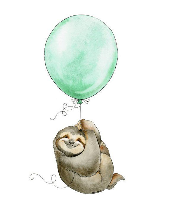 Sloth Decor, Sloth Watercolor, Sloth Art, Sloth Adventure, Flying Sloth, Sloth Nursery, Baby Shower Gift, Watercolour Nursery, Sloth Print #babysloth