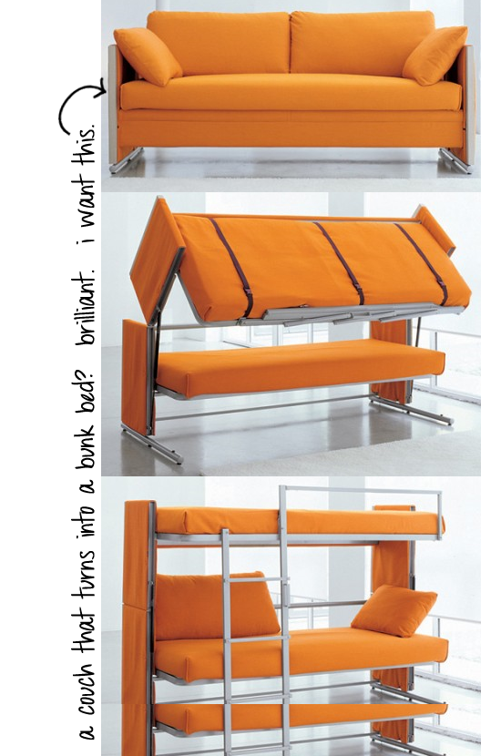 couch that turns into a bunk bed! and i thought futons