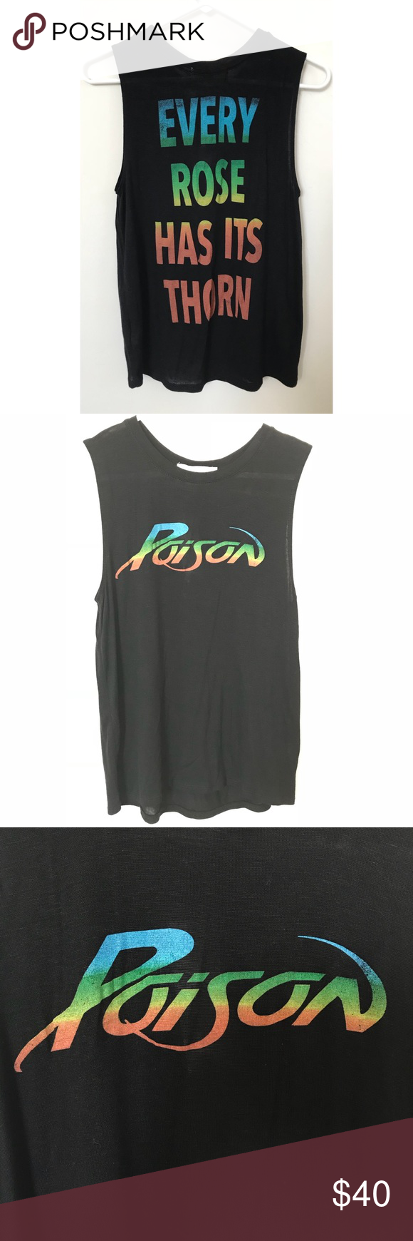 "82a6e62c008300 🤘 POISON Sleeveless Top 🤘 POISON sleeveless top. 🤘""POISON"" on the ..."