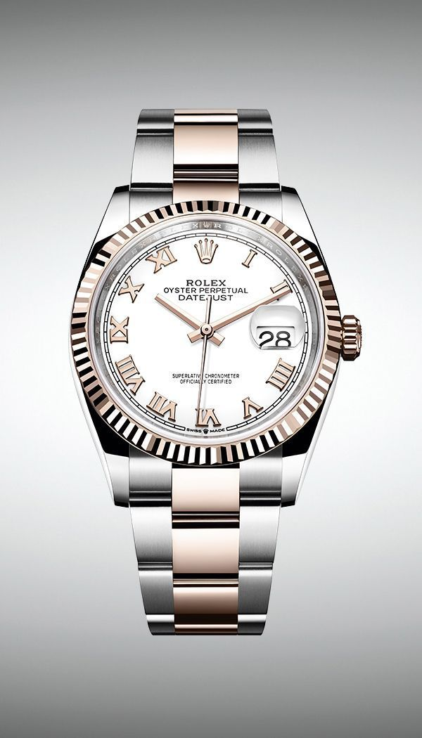 The new Rolex Datejust 36 features a white dial with 18ct pink gold Roman numerals and a fluted bezel  The new Rolex Datejust 36 features a white dial with 18ct pink gold...