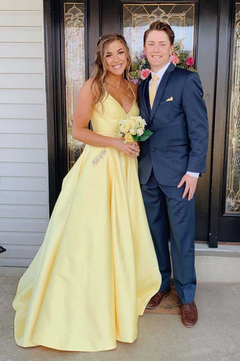 Yellow Long Prom Dress With Beaded Pockets Backless Evening Dress Op658 Prom Dresses Yellow Yellow Evening Dresses Prom Dresses With Pockets [ 1188 x 792 Pixel ]