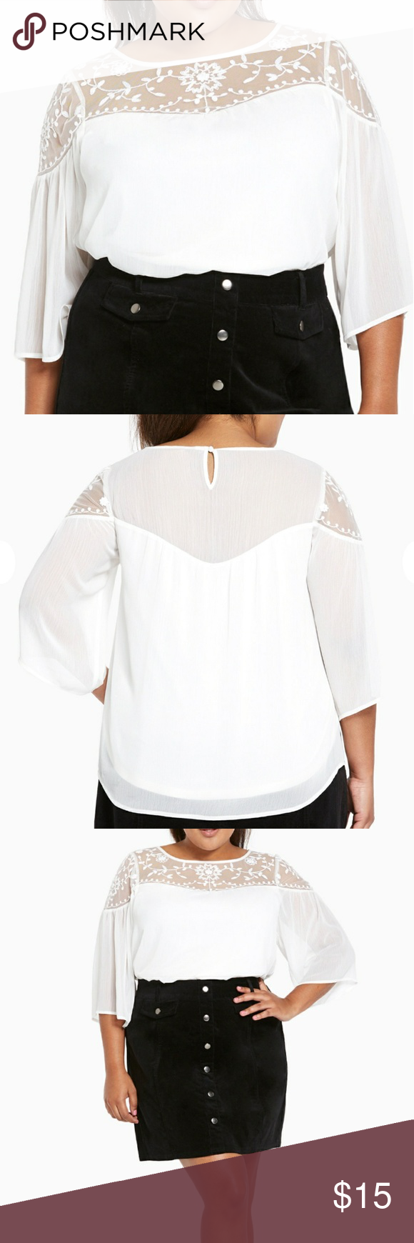 Torrid chiffon lace insert top They say romance is dead, but we think our #feelings for this top prove otherwise. An ivory chiffon body sports a peasant silhouette with bell sleeves. An embroidered lace inset shows off hints of skin; as if we weren't lovestruck enough. torrid Tops Blouses