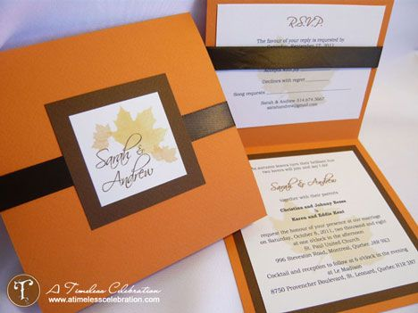 17 Best images about wedding invitation ideas – Fall Pocket Wedding Invitations