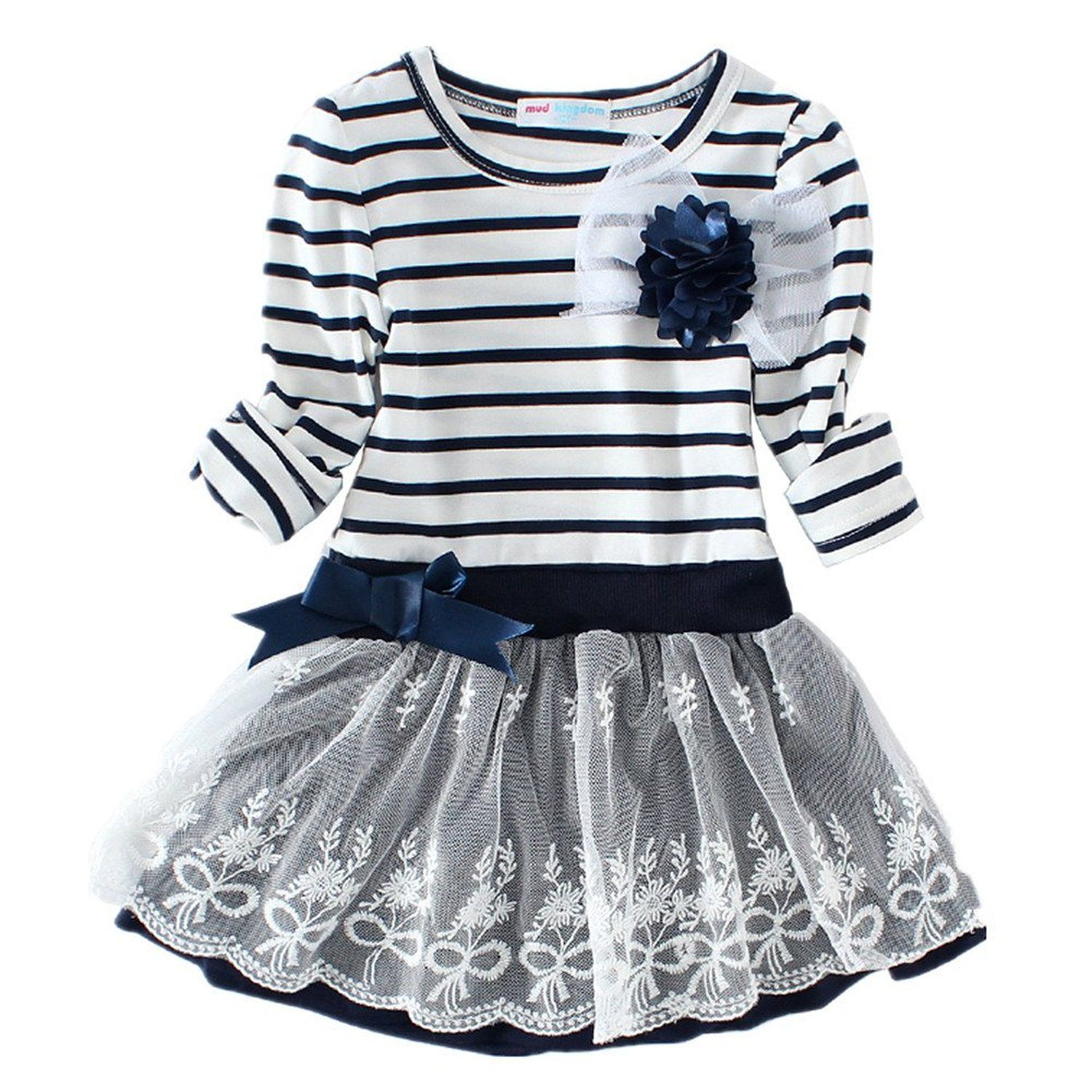 Littlespring little girlsu dress striped flower long sleeve size t